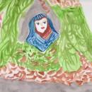 vierge bleue sur le chemin des fées